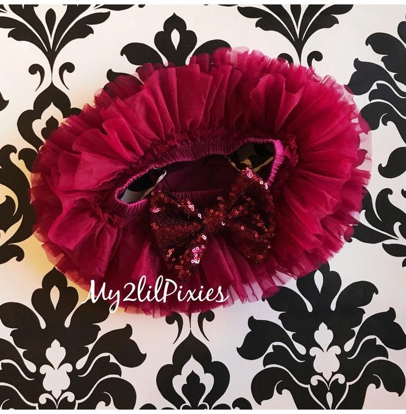 baby girl maroon sequins bow newborn Tutu Bloomer chiffon tutu ruffle tutu bloomers MAROON TUTU all around ruffle bloomer