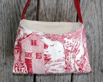 Upcycled French Toile Ecofriendly Valentine Bag