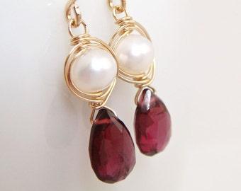 Garnet and Pearl Earrings 14k Gold Fill, January Birthstone Gemstone Jewelry, Handmade Dangle Earrings, aubepine