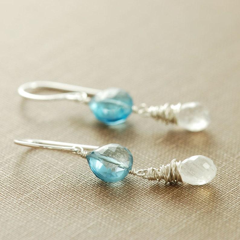 London Blue Topaz Earrings Sterling Silver Drop Earrings December Birthstone Blue Topaz Jewelry Topaz Moonstone