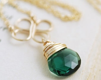 Black Friday Cyber Monday Sale- Green Gemstone Necklace 14k Gold Fill, Emerald Green Pendant, Handmade Clover Necklace