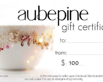 aubepine 100 Dollar Gift Certificate
