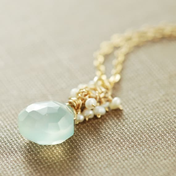 Aquamarine Blue March Birthstone Necklace Seafoam Gemstone | Etsy