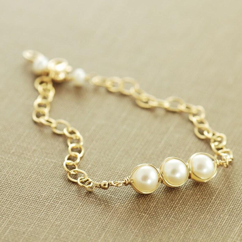 Layering Bracelet Pearl Birthstone Bracelet in 14k Gold Fill or Sterling Silver Handmade Gemstone Wedding Jewelry