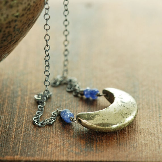 Pyrite Crescent Moon Necklace In Sterling Silver Pyrite Etsy