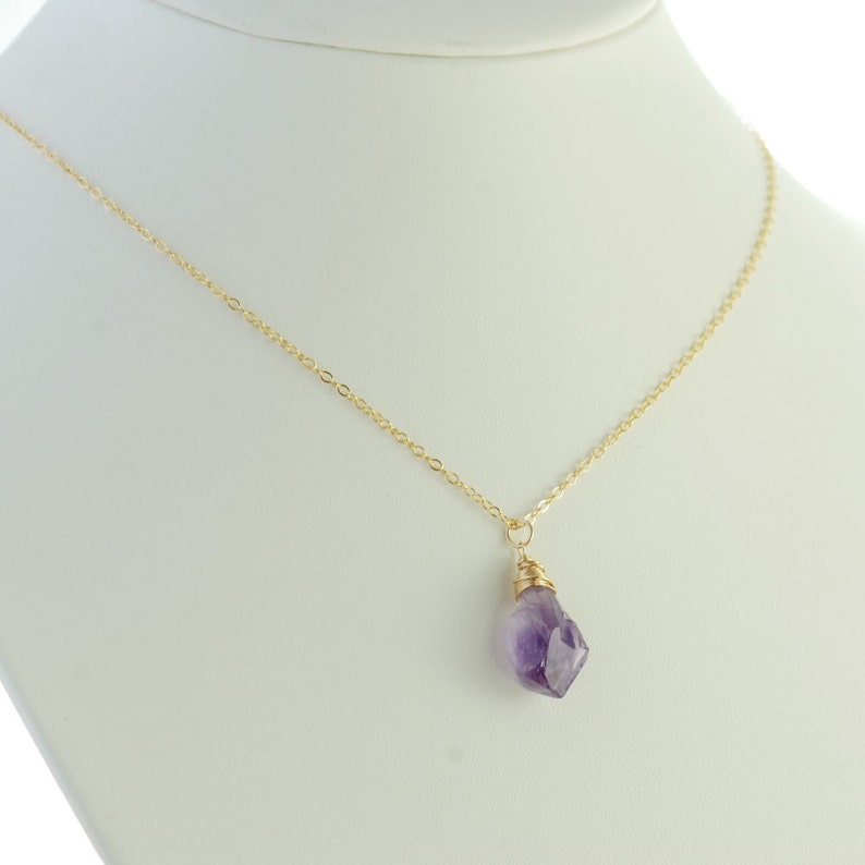 Rustic Purple Amethyst Necklace Ombre Amethyst Gemstone Gold Pendant Necklace February Birthstone Jewelry