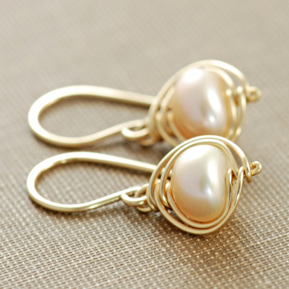 peach pearl earrings 14k gold fill delicate pearl dangle. Black Bedroom Furniture Sets. Home Design Ideas