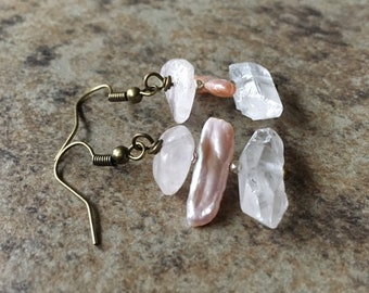Metalsmith Artisan Jewelry Rose Gold Filled Wire Wrapped Earrings Angel Aura or Pearl Aura Double Terminated