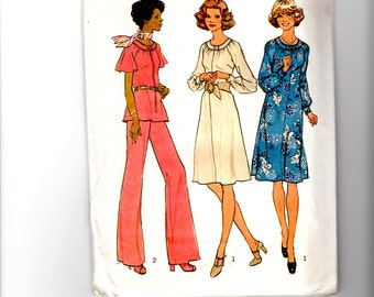 Vintage 1975 UnCut Simplicity 7148 Sewing Pattern -  Misses' Sizes 10-1/2, 12-1/2 &  14-1/2 Dress or Top and Wide-Leg Pants in Half Size