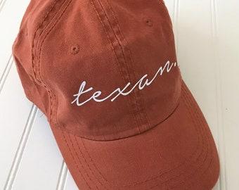 bf4e5650eb0d9 Texas Orange Ball Cap Texas Baseball Cap Texas Proud State Hats Texas Hat Texas  Orange