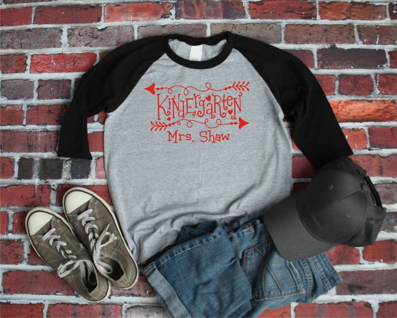 7a4f18f0 Kindergarten Teacher Custom Shirt/Baseball Style Tee/Gray with | Etsy