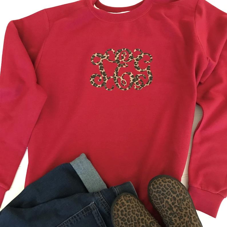 Leopard Print Monogram~Dark Red Sweatshirt~Custom Monogram~Personalized Sweatshirt~Gifts for Her~Ladies Monogrammed Sweatshirt~Custom Gifts
