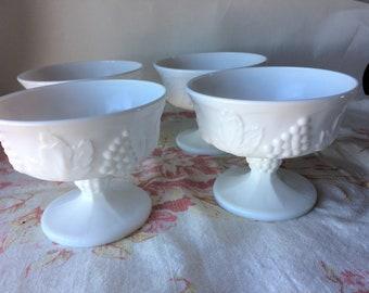 Parfait Cups Vintage Indiana Milk Glass Dessert Cups Colony Harvest Grapes Set of Ten Dessert Bowls Sherbet Cups Ice Cream Dish 10