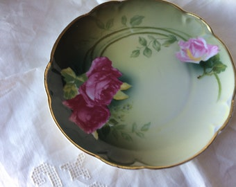 Vintage Charlotte Bavaria Serving Bowl Handpainted Yellow Rose And Brown Bowls