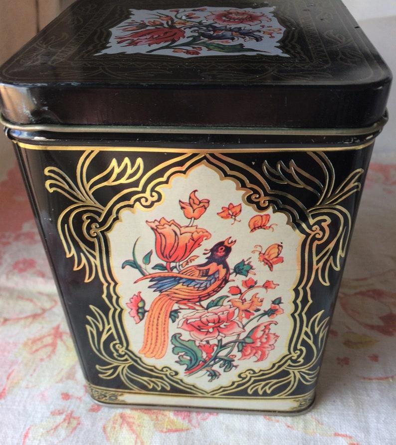 Vintage candy tin black pink peacocks flowers ornate design