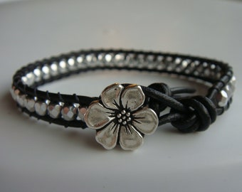 Silver Beaded Leather Bracelet with Flower Button