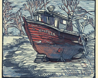 Lobster Boat Amelia (multi-color reduction woodcut)