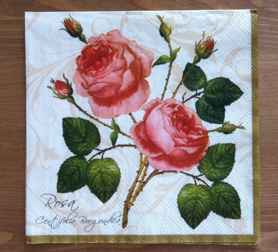 Pn 35 roses paper flowers napkins for decoupage napkins with etsy image 0 mightylinksfo