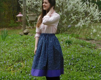 Full modest skirts for girls; beautiful purple flowers on a navy background w/purple band at hem; perfect for school or play