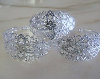 Vintage Look Silver Filigree Bracelet Base (3)
