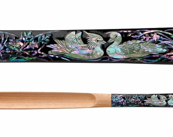 Mother of Pearl Inlay Art Wedding Duck 20 Inch Long Wooden Handled Housewarming Marriage Gift Shoe Horn Shoehorn Leather String for Hanging