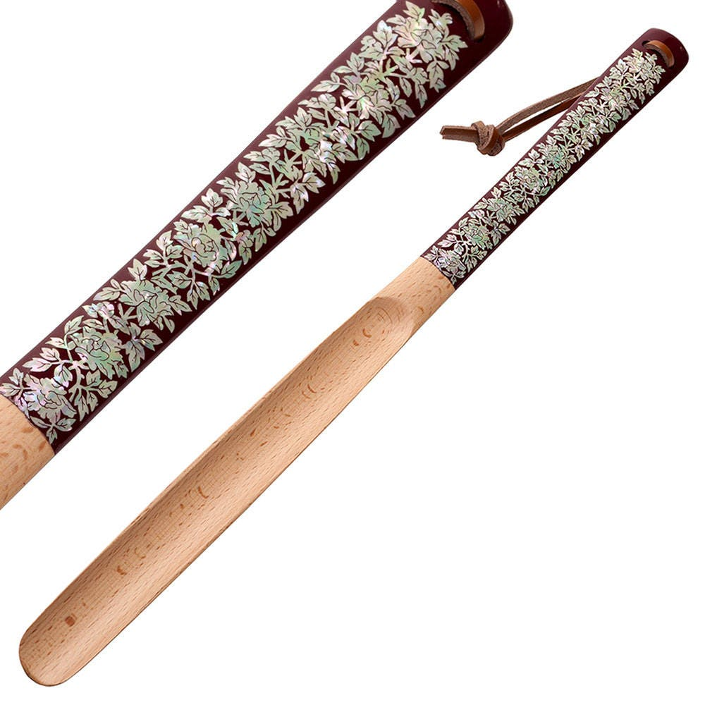 Mother of Pearl Inlay Inch Art Peony Flower 20 Inch Inlay Long Wooden Handled Shoe Horn Shoehorn with Leather String for Hanging 460687