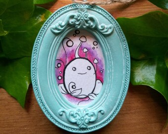 Miniature Chep Pink and Purple Watercolour Oval painting in a Shabby Chic Vintage Style Frame. Ready to hang.