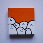 Orange - Cheps - Acrylic Painting On Canvas - Original - Tiny Miniature Painting
