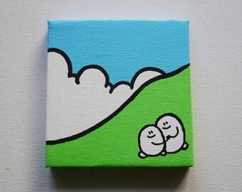 Chep Landscape - Acrylic Painting On Canvas - Original - Tiny Miniature Painting