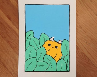 """Cute little Chep monster hiding in the foliage. Original acrylic painting. Frame optional. 5 x 7""""."""
