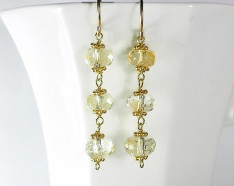 Citrine Earrings Gold Yellow Gemstone Earrings Light Yellow Drop Earrings Genuine Citrine Earrings November Birthstone