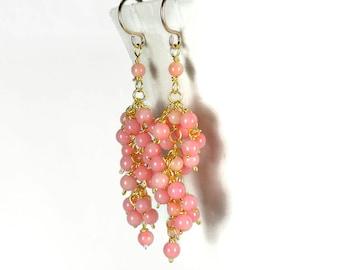 Pink Coral Cluster Earrings, Dainty Pink Earrings, Waterfall Earrings, Pink Tassel Gemstone Earrings, Pink Dangle Earrings, Cascade Earrings