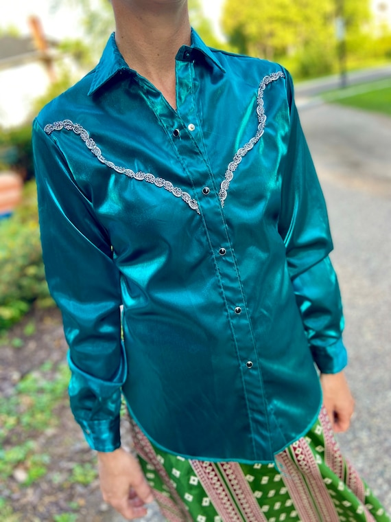 Vintage 80s Western Satin Shirt | Ranchwear | West