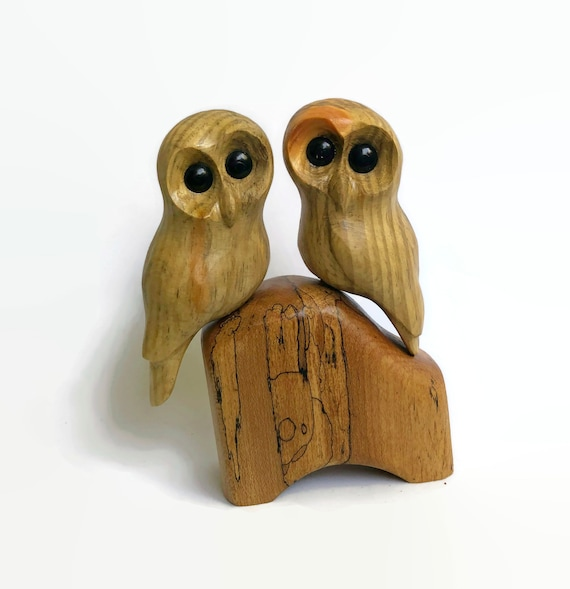 Anniversary gifts for him, owl gifts for wife, couple gift, wood carving