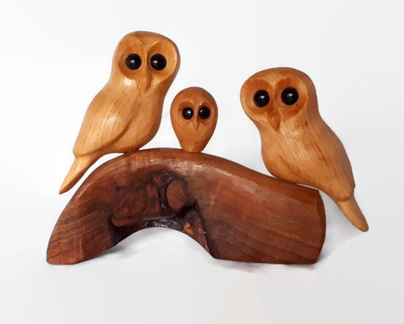 Owl Wood Carving, 5th Anniversary Gift, New Baby Gift, Family of 3, Wood Anniversary, Valentine's Day Gift