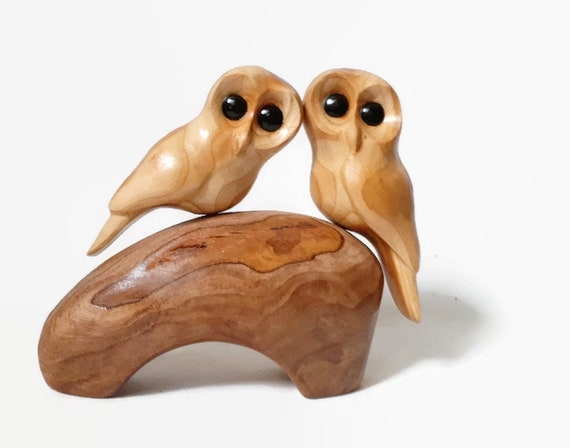 Owl gift for her anniversary gifts romantic Christmas gift unique handmade wedding gift for couple wood owls anniversary for him gifts