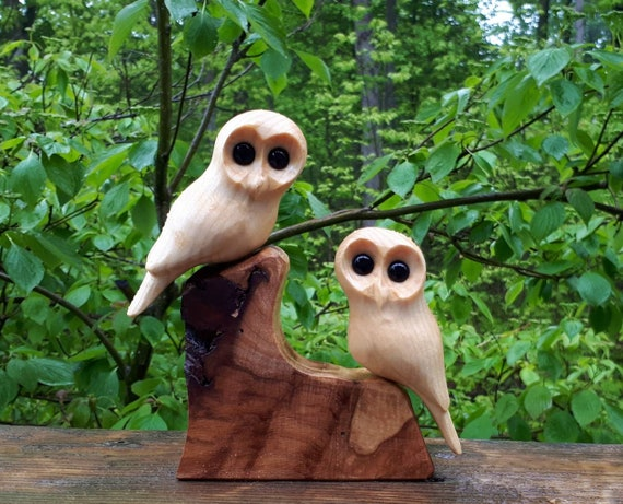Wedding anniversary gift, owl wood sculpture, romantic gifts