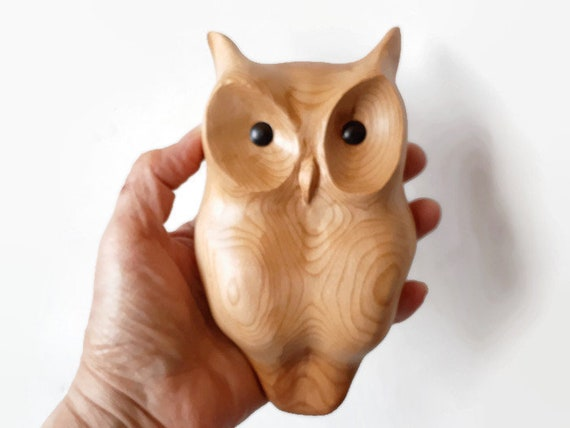 Corporate gifts owl wood carving unique wall decor handmade in Canada gift from Canada