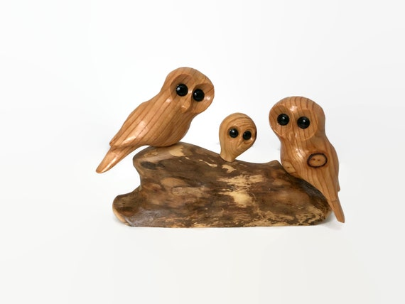 Owl family of 3 wood carving, 5th anniversary gifts for wife, new baby gift for couple,  gift for new parents