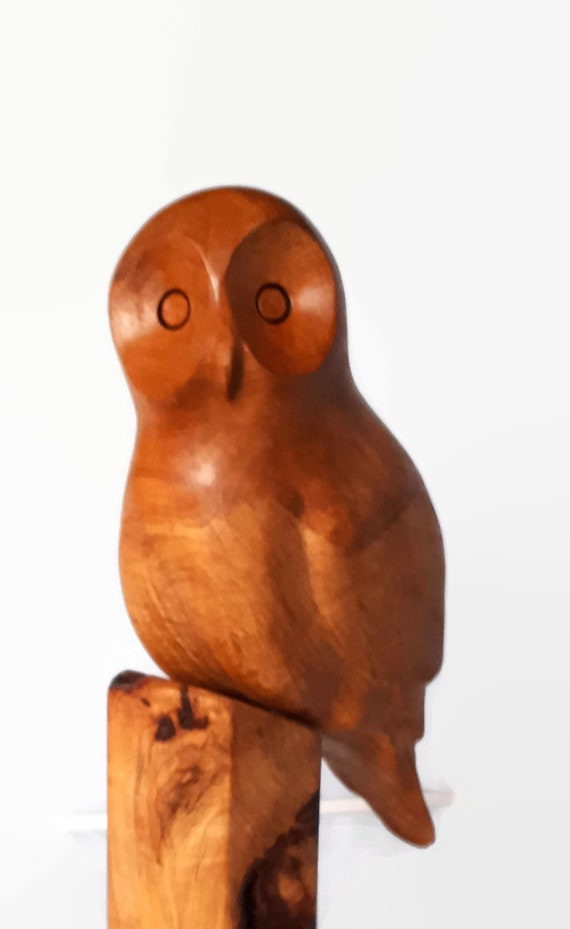 Owl wood carving gift for men rustic gift for man retirement gift for husband birthday for him unique cottage decor