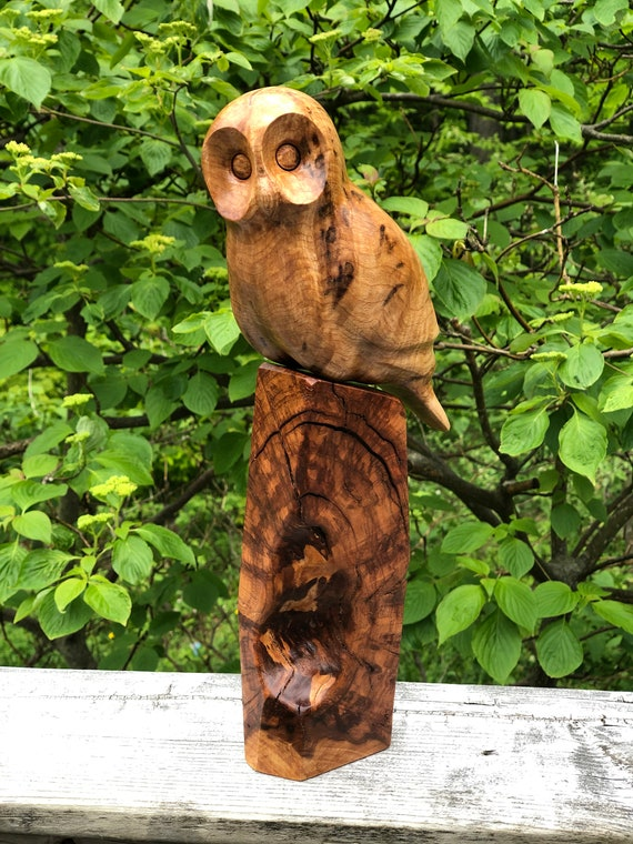 Owl wood sculpture, birthday gift for dad, retirement gifts, graduation gift, gift for men