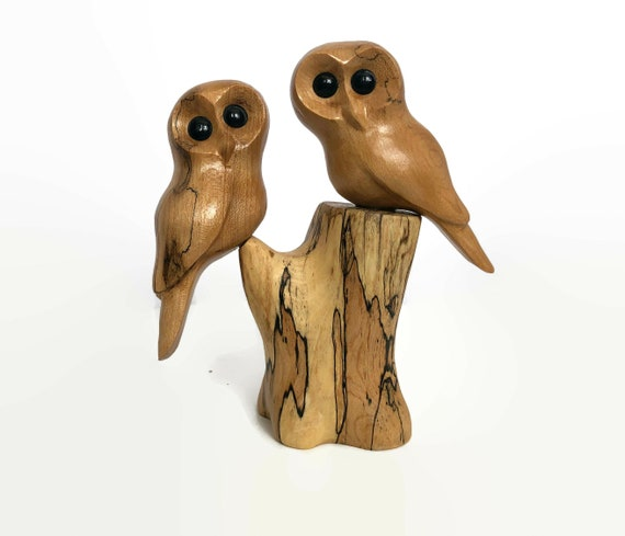 Anniversary gifts for him, owl gifts for her, wedding gifts for couple, owls wood carving