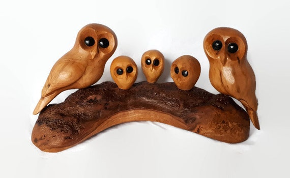 Anniversary gift for parents, family of 5 owl wood carving