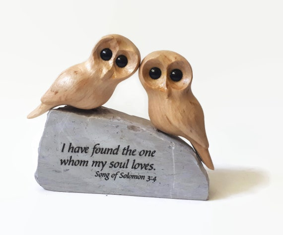 Wedding gifts for couple, 50th wedding anniversary gifts, 5th anniversary gift for wife, owl art wood carving