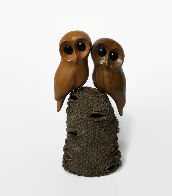 Anniversary gifts for him, 5th anniversary gift for wife, unique owl wood carving, wedding gift