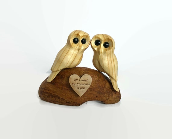 Christmas gifts for him, romantic gifts for her, anniversary gifts, owls wood carving
