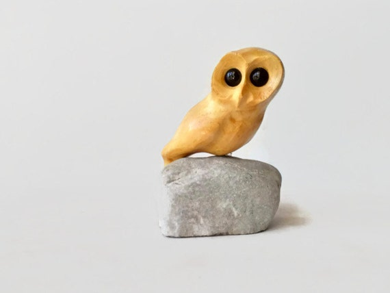 owl wood carving,  hand carved bird,  owl decor, owl art, teacher gift,  hibou