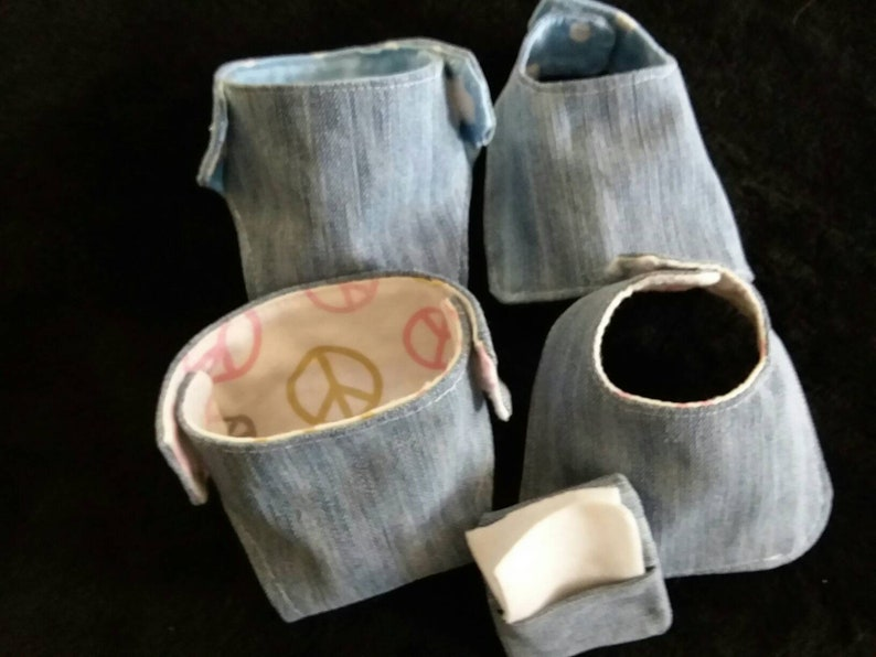 and reusable! Doll Diapers in denim Set of 2 diapers and 2 bibs with a bonus wipe holder and 2 wipes Denim fronts flannel backing