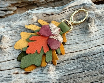 Tote Clip On Genuine Deerskin 8 12 Long Boho Purse Fob Hobo Autumn Fall Colors Red Yellow Green Orange Leather Feathers Handbag Charm