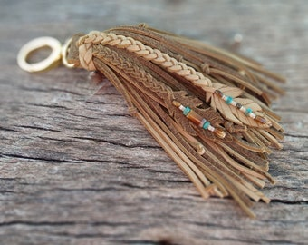 Terracotta Brown Feather Leather HandBag Charm Genuine Deerskin 9 Long Gold Clip On Rustic Mustard Yellow Boho Purse Fob Hobo Tote Bag